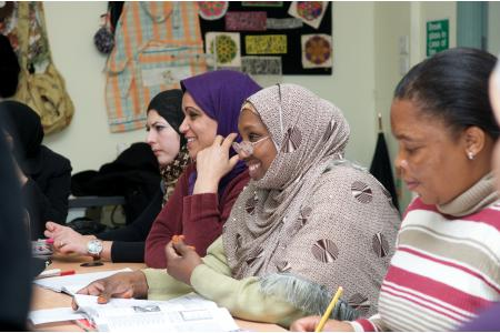 Women enjoying their English class