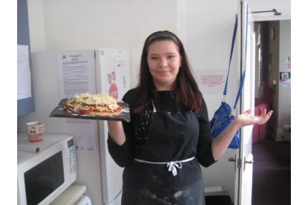 One of our young people cooking in the 4YP kitchen