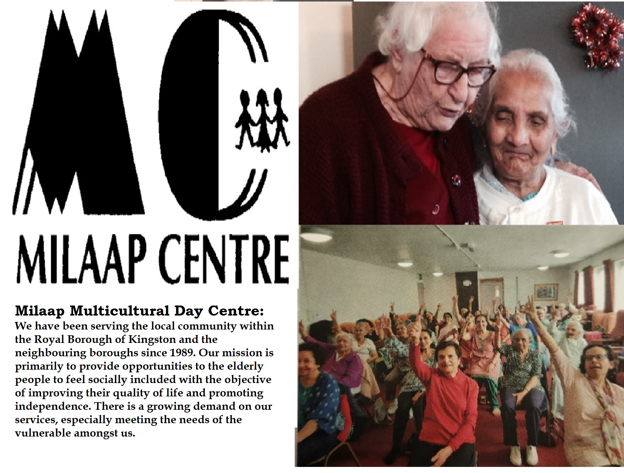 COVID-19 Crisis - Milaap Multicultural Day Centre - We need your support