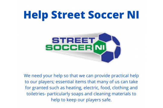 Help Street Soccer NI during Covid 19